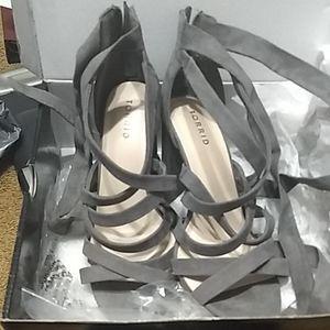 Torrid Strappy grey sandles suede 8.5 wide